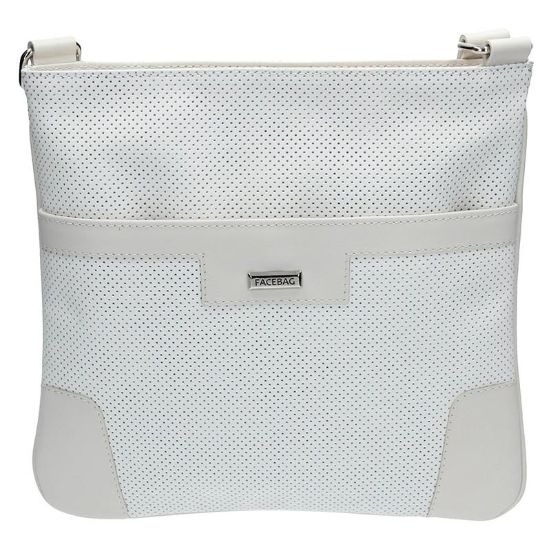 Dámská kožená crossbody kabelka Facebag Ghita - bílá