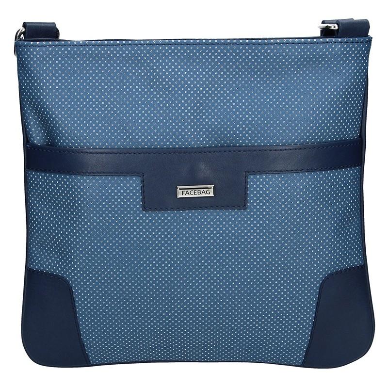 Dámská kožená crossbody kabelka Facebag Ghita - modrá