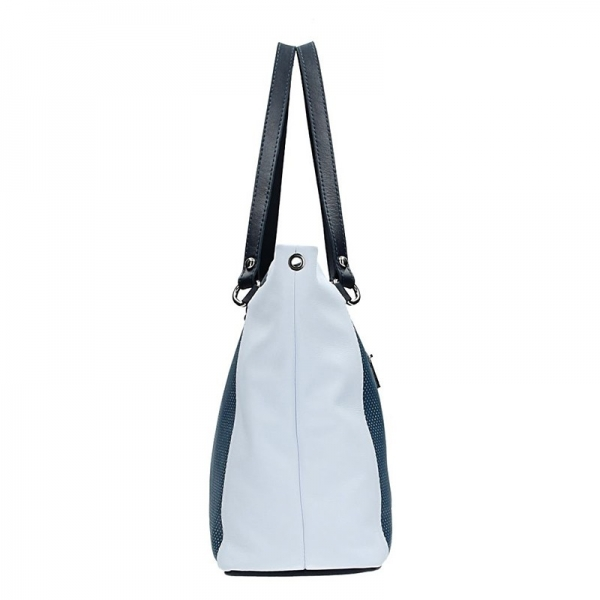 Dámská kožená kabelka Facebag Joana - modro-bílá