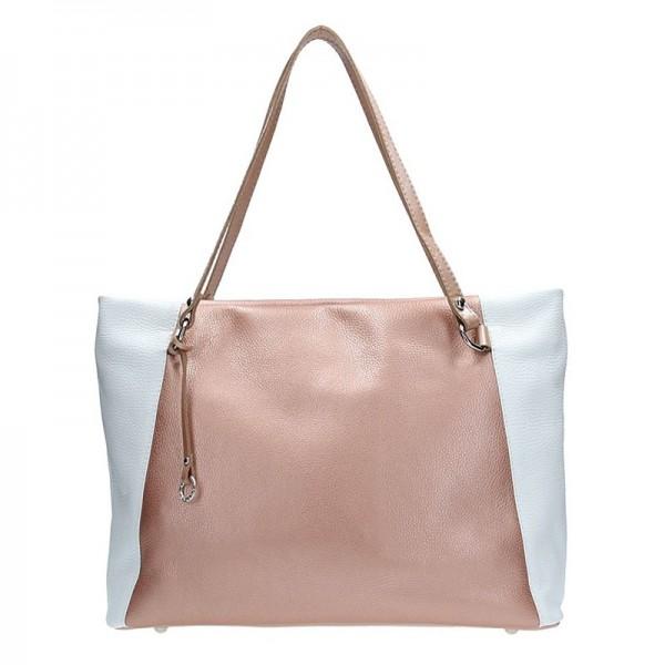 Dámská kožená kabelka Facebag Joana - růžovo-bílá