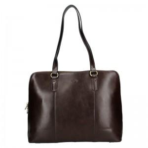 Elegantní dámská kožená kabelka Katana Apolens - tmavě hnědá