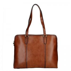 Elegantní dámská kožená kabelka Katana Apolens - koňak