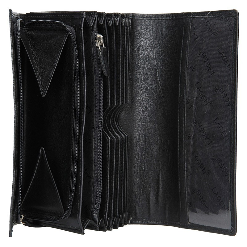 Číšnická kožená peněženka Lagen Menolo - černá