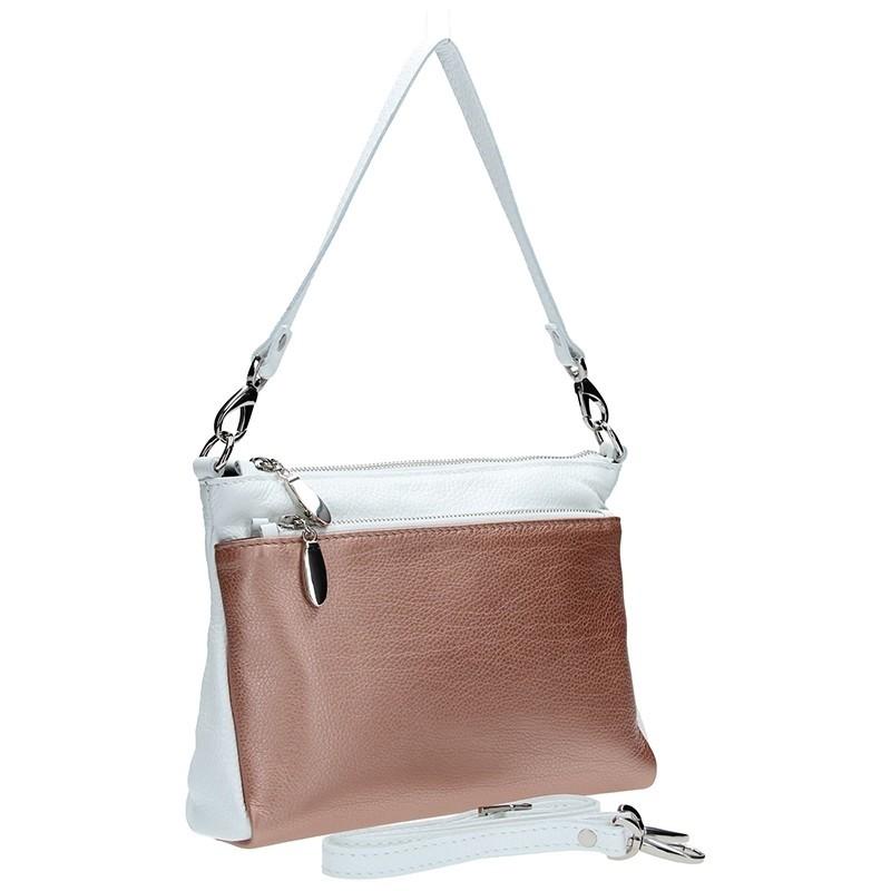 Dámská kožená crossbody kabelka Facebag Lincoln - růžová