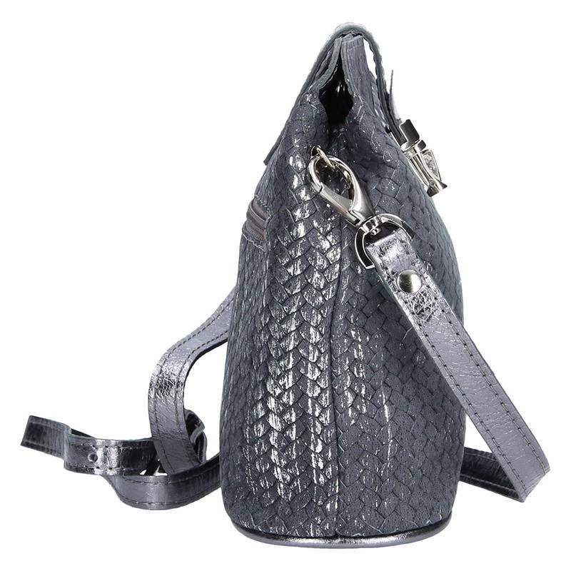 Dámské kožené crossbody Facebag Marta - šedo-stříbrná