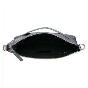 Trendy dámská kožená crossbody kabelka Facebag Elesn - stříbrná