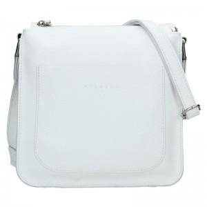 Trendy dámská kožená crossbody kabelka Facebag Miriana - bílá