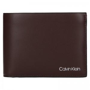 Pánská kožená peněženka Calvin Klein Ferian - tmavě hnědá