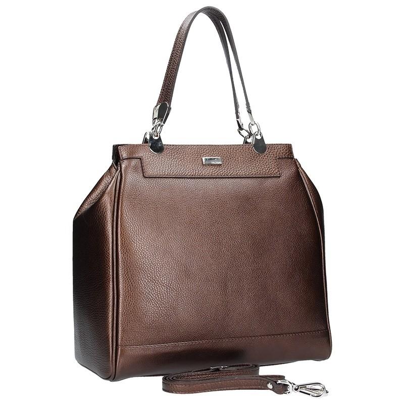 Dámská kožená kabelka Facebag Bernadeth - tmavě hnědá
