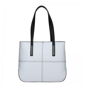 Dámská kožená kabelka Vera Pelle Meraba - černo-bílá