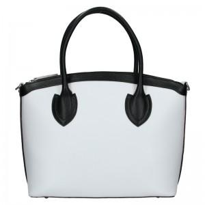 Dámská kožená kabelka Vera Pelle Klára - bílo-černá