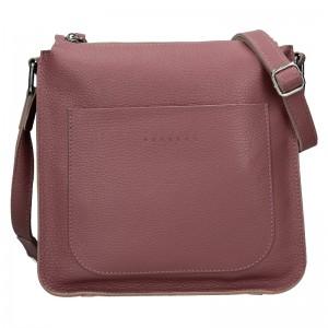 Trendy dámská kožená crossbody kabelka Facebag Miriana - růžová