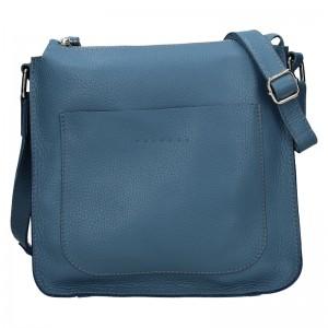 Trendy dámská kožená crossbody kabelka Facebag Miriana - modrá