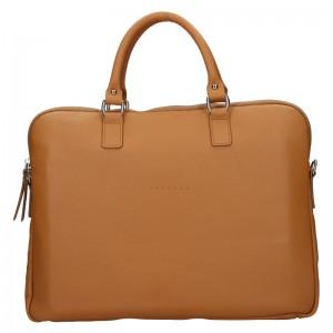 Unisex kožená taška na notebook Facebag Milano - hnědá