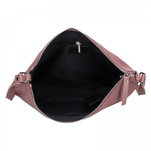 Trendy dámská kožená crossbody kabelka Facebag Elesn - růžová