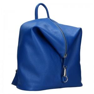 Kožený dámský batoh Unidax Arabel - modrá