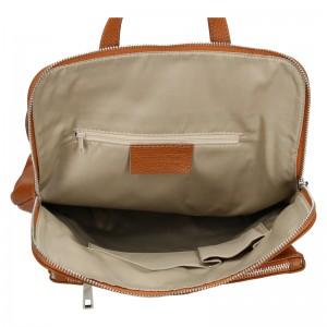 Kožený dámský batoh Unidax Marion - hnědá