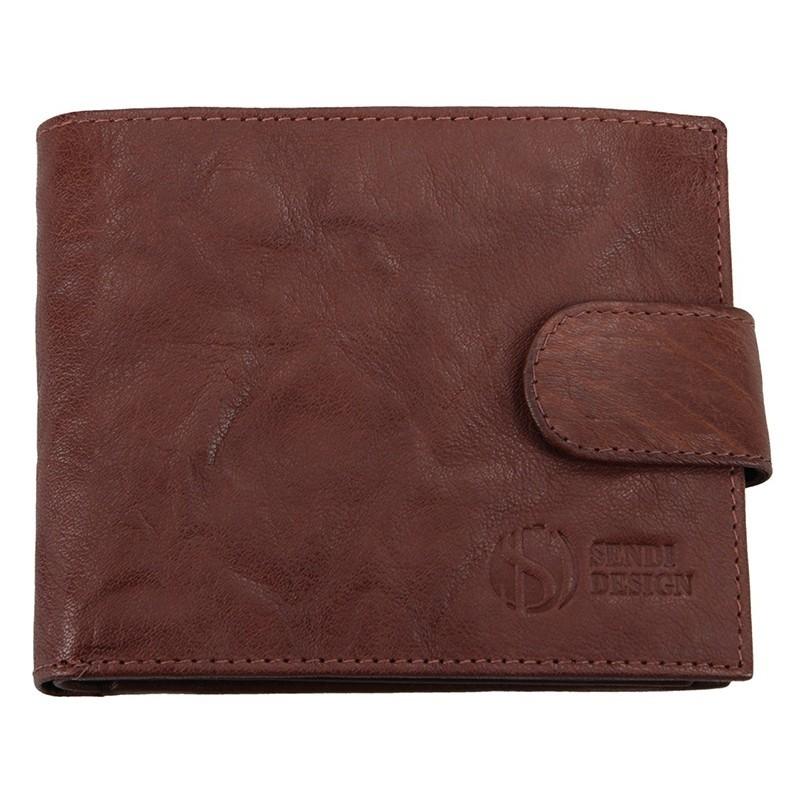 Pánská kožená peněženka SendiDesign SNW6947 - tmavě hnědá