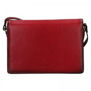 Kožená dámská crosbody kabelka Katana Amande - tmavě červená