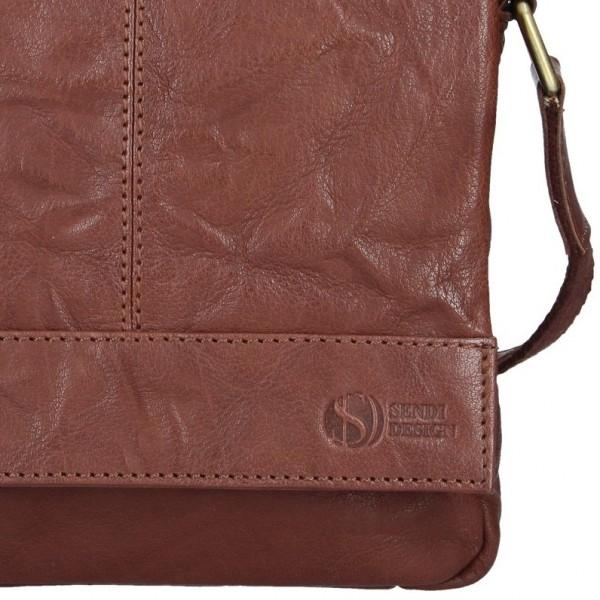Pánská kožená taška přes rameno SendiDesign Mattia - tmavě hnědá