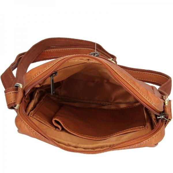 Pánská kožená taška přes rameno SendiDesign Mattia - světle hnědá