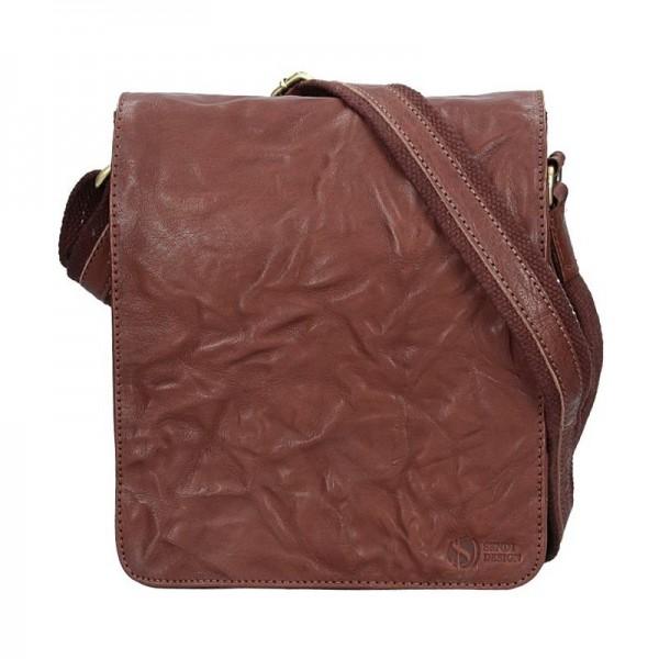 Pánská kožená taška přes rameno SendiDesign Stefano - tmavě hnědá