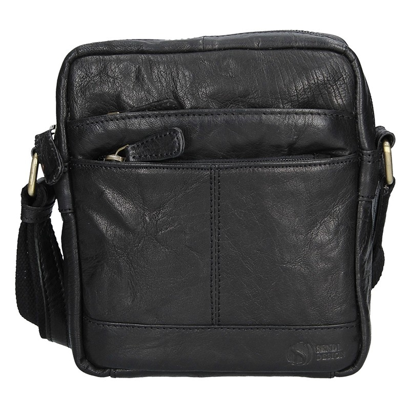Levně Pánská kožená taška na doklady SendiDesign Daniele - černá