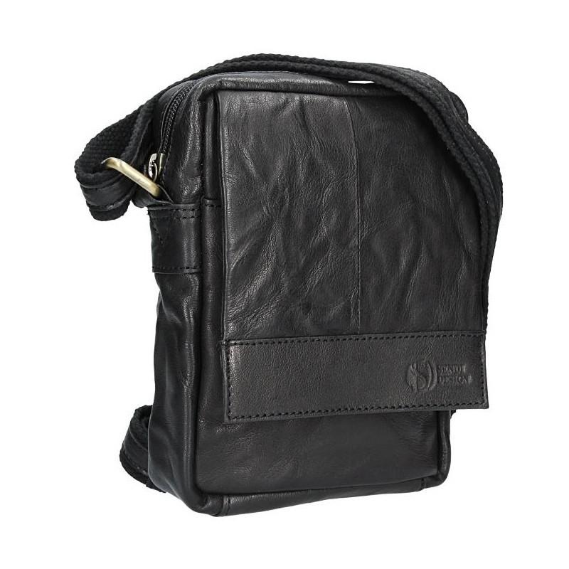 Pánská kožená taška přes rameno SendiDesign Pietro - černá