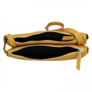 Trendy dámská kožená crossbody kabelka Facebag Beatrice - hořčicová