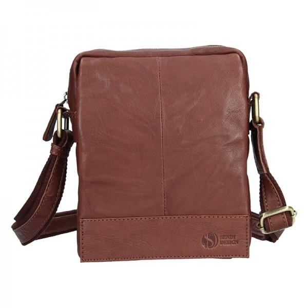 Pánská kožená taška přes rameno SendiDesign Eduardo - tmavě hnědá