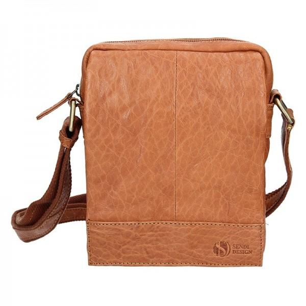 Pánská kožená taška přes rameno SendiDesign Eduardo - světle hnědá