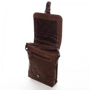 Pánská kožená taška přes rameno Greenwood Dainan - hnědá