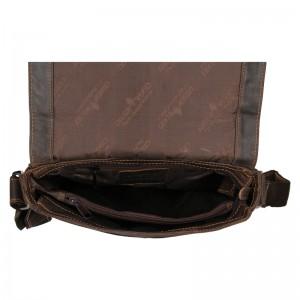 Pánská kožená taška přes rameno Greenwood Lowan - tmavě hnědá