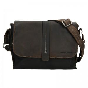 Pánská kožená taška přes rameno Greenwood James - tmavě hnědá