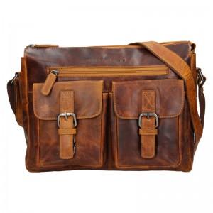 Pánská kožená taška přes rameno Greenwood Jack - hnědá