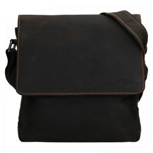 Pánská kožená taška přes rameno Greenwood Harry - tmavě hnědá