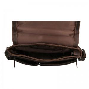 Pánská kožená taška přes rameno Greenwood Josh - tmavě hnědá
