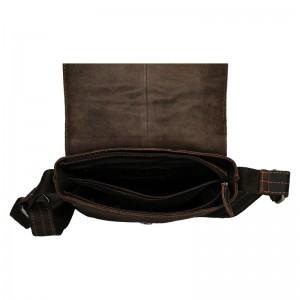 Pánská kožená taška přes rameno Greenwood Jake - tmavě hnědá