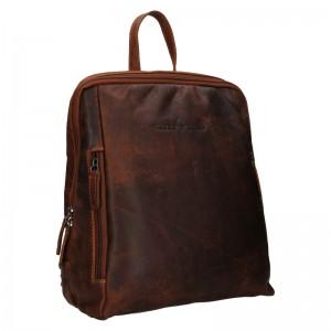 Kožený batoh Greenwood Liam - tmavě hnědá