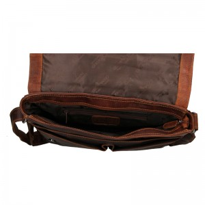 Pánská kožená taška přes rameno Greenwood Jay - tmavě hnědá