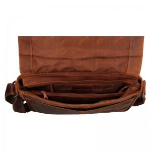 Pánská kožená taška přes rameno Greenwood Elliot - hnědá