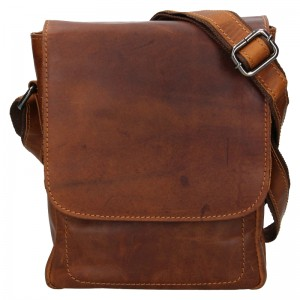 Pánská kožená taška přes rameno Greenwood Thomas - hnědá