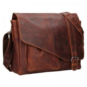 Pánská kožená taška přes rameno Greenwood Kane - hnědá