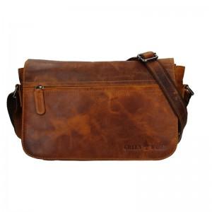 Kožená taška přes rameno Greenwood Kyle - hnědá