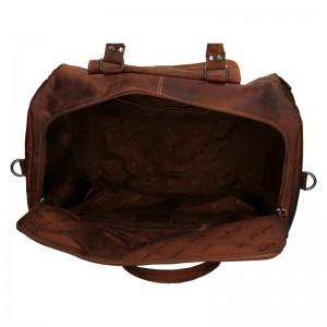 Kožená cestovní taška Greenwood Alex - hnědá