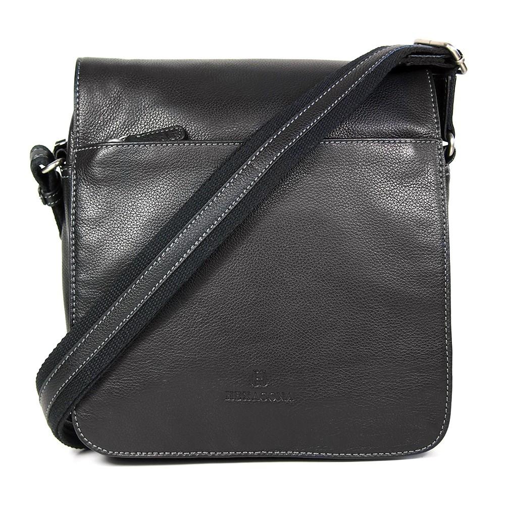 Pánská kožená taška přes rameno Hexagona 462547 - černá c5a2547e688