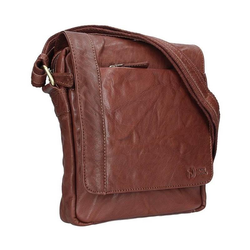 Pánská kožená taška přes rameno SendiDesign Apolon - tmavě hnědá