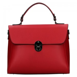 Dámská kožená kabelka Vera Pelle Luccy - červená
