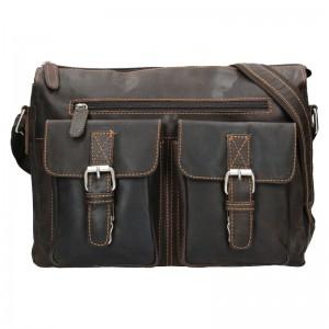 Pánská kožená taška přes rameno Greenwood Jack - tmavě hnědá