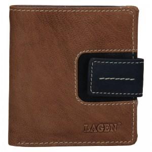 Dámská kožená peněženka Lagen Celesta - hnědo-modrá
